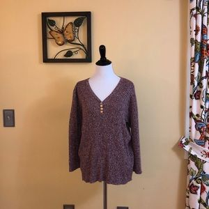 Cranberry and tan sweater